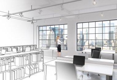 Workplaces in modern loft open space office
