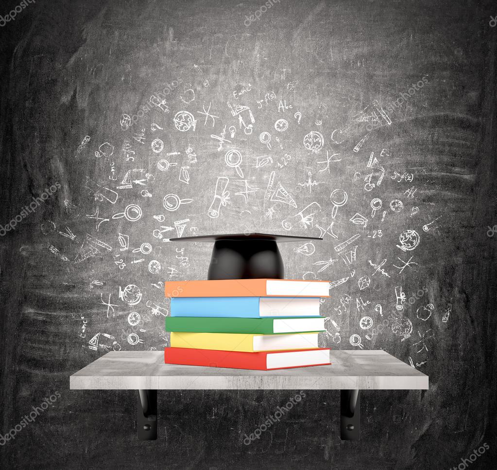 A pile of books in coloured covers on a shelf, an academic hat above. Black background with scientific icons. Concept of education. stock vector