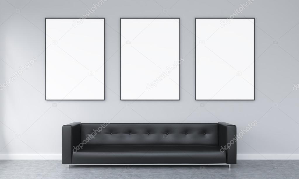 Three frames over a sofa — Stock Photo © denisismagilov #95840834