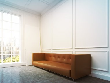 Sofa at the wall, side view, window light