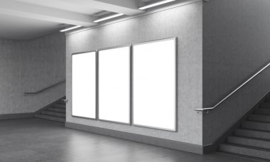 Three blank vertical billboard in the underground, stairs up on both sides.