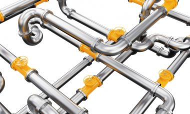 An element of a metal pipeline with yellow taps. isolated over white background. Concept of constructing a pipeline.