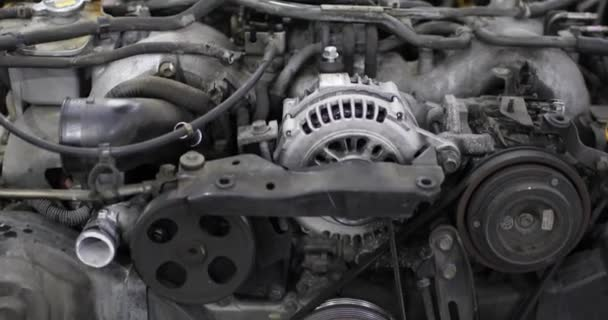 Closeup of car engine chain and gears, closeup view.