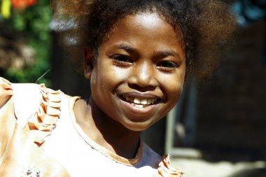 Cute young black African girl - poor child, madagascar