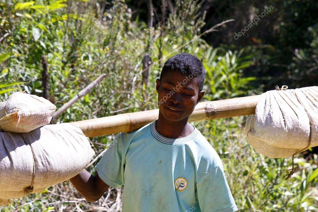 Young Malagasy man carrying sacks of rice on bamboo stick - afri