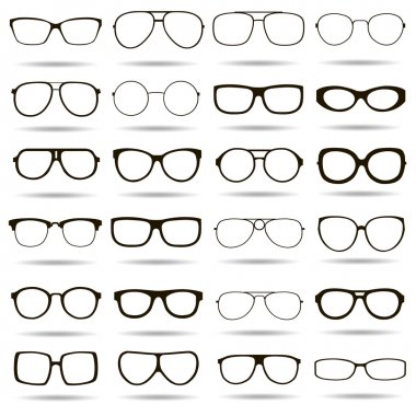 24 black and white vector icons highly detailed glasses stock vector