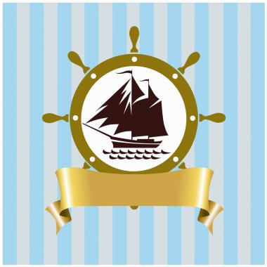 Vector card with the image of the sea ship