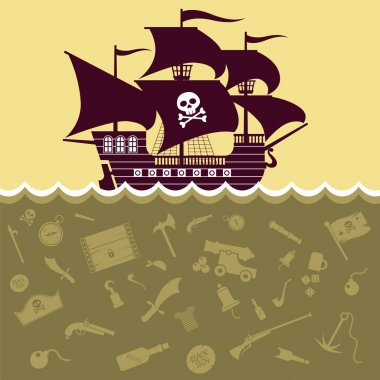 Vector image of the ship and pirate symbols