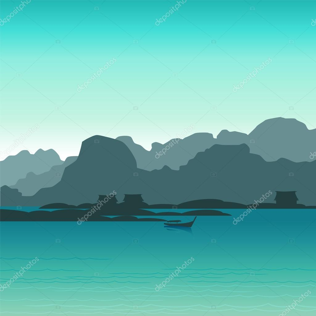 Vector landscape with boat