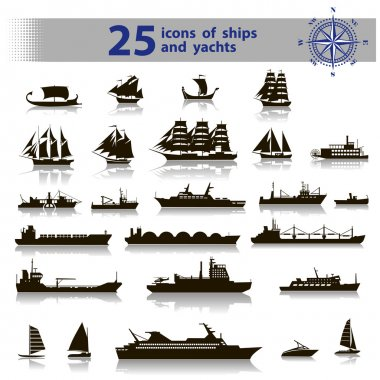 25 icons of ships and yachts