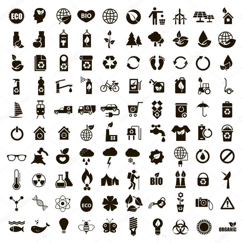 100 black ecological icons