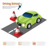 Zelené auto a silniční kužel, Autoškola