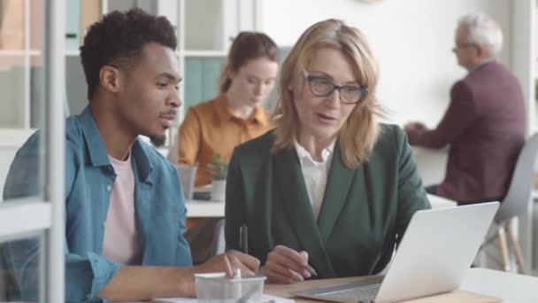 Derékig érő felvétel érett kaukázusi női felügyelő ül az íróasztalnál együtt az új férfi afro-amerikai alkalmazott, elmagyarázza kötelességek laptop, míg az ember figyel figyelmesen és jegyzetel