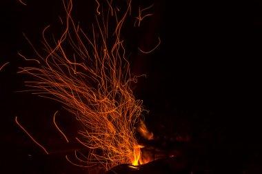 Bonfire flame fire sparks