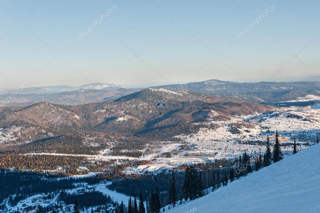 ski slopes mountain winter panorama