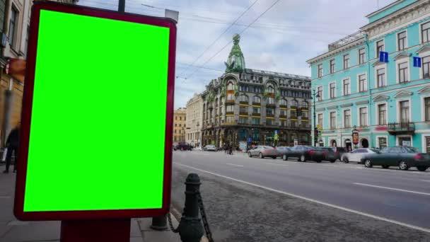 Billboard zöld képernyő Szentpéterváron. TimeLapse