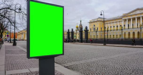 Billboard zelená obrazovka v Petrohradě. timelapse