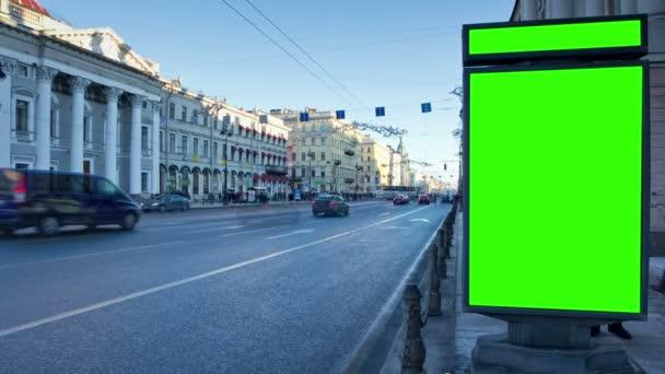 Billboard chromakey. St Petersburg. Rusko. timelapse