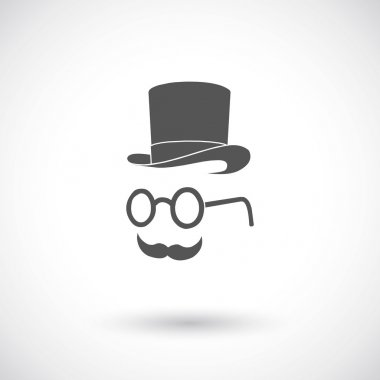 Hat glasses and book. Hipster elements and icons.