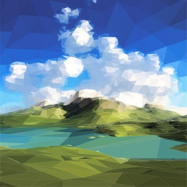 Low poly landscape. Mountains, clouds and blue sky. Vector illustration