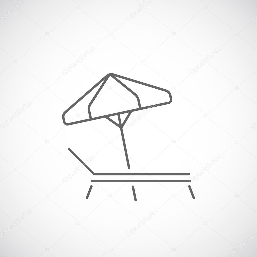 Disegno Ombrellone E Sdraio.Beach Umbrella And Deck Chair Line Icon Summer Concept Stock