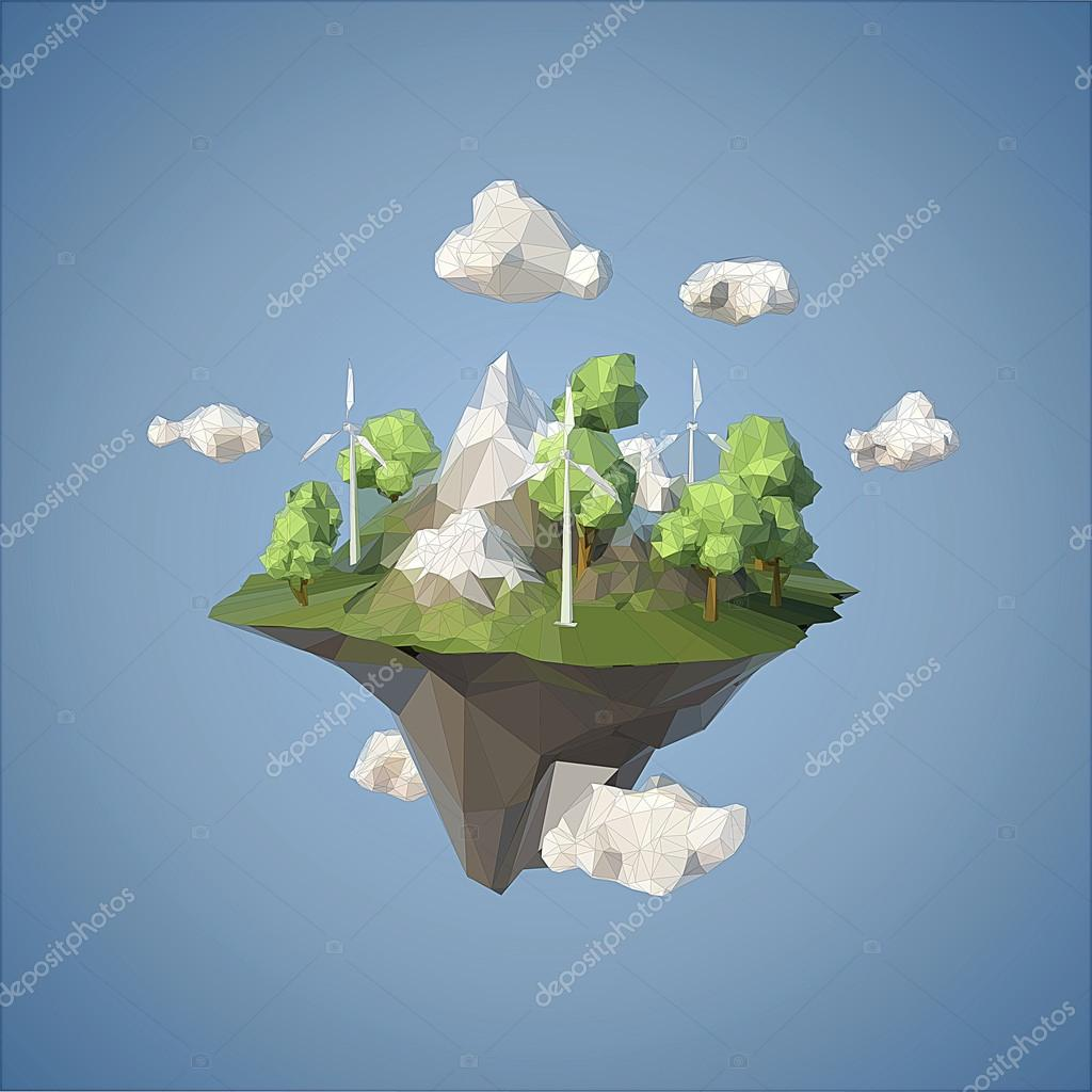Island floating in the sky with wind turbine and trees, low poly style.