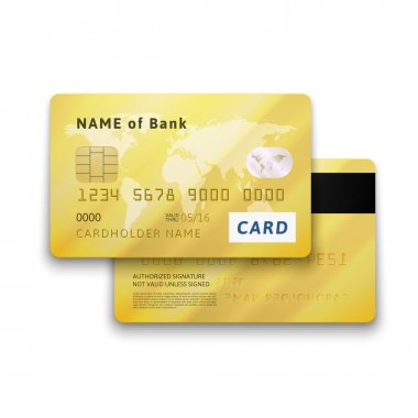 Set of detailed glossy gold credit card