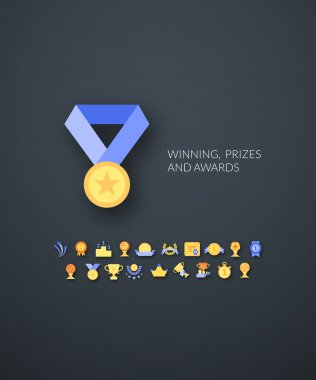 Winning, prizes and awards icons