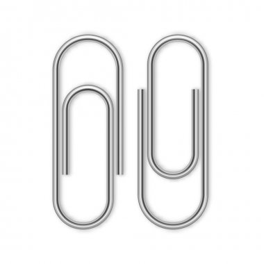 Paper clips isolated on white, vector illustration stock vector