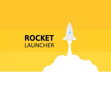 Yellow rocket and white cloud