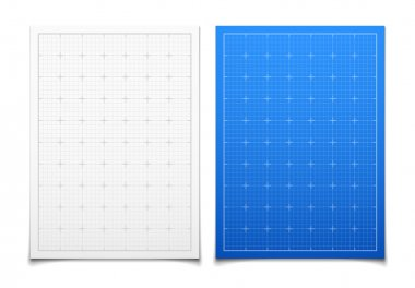 White and blue isolated square grid set with shadow