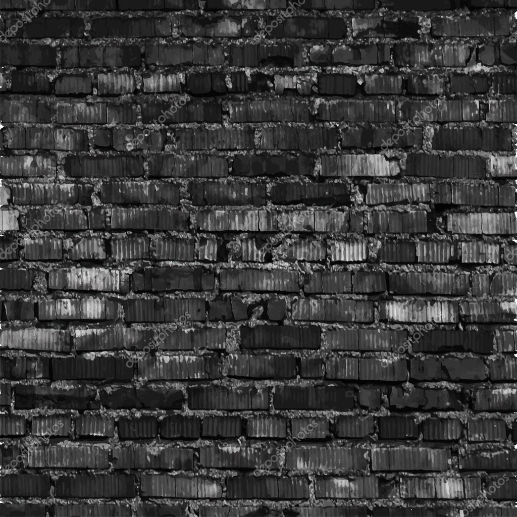 Brick wall, black relief texture with shadow — Stock ...