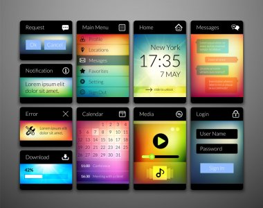 Mobile interface elements with colorful wallpaper