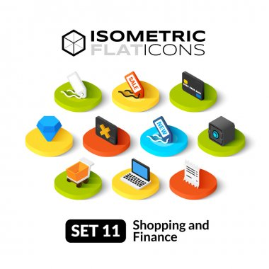 Isometric flat icons set