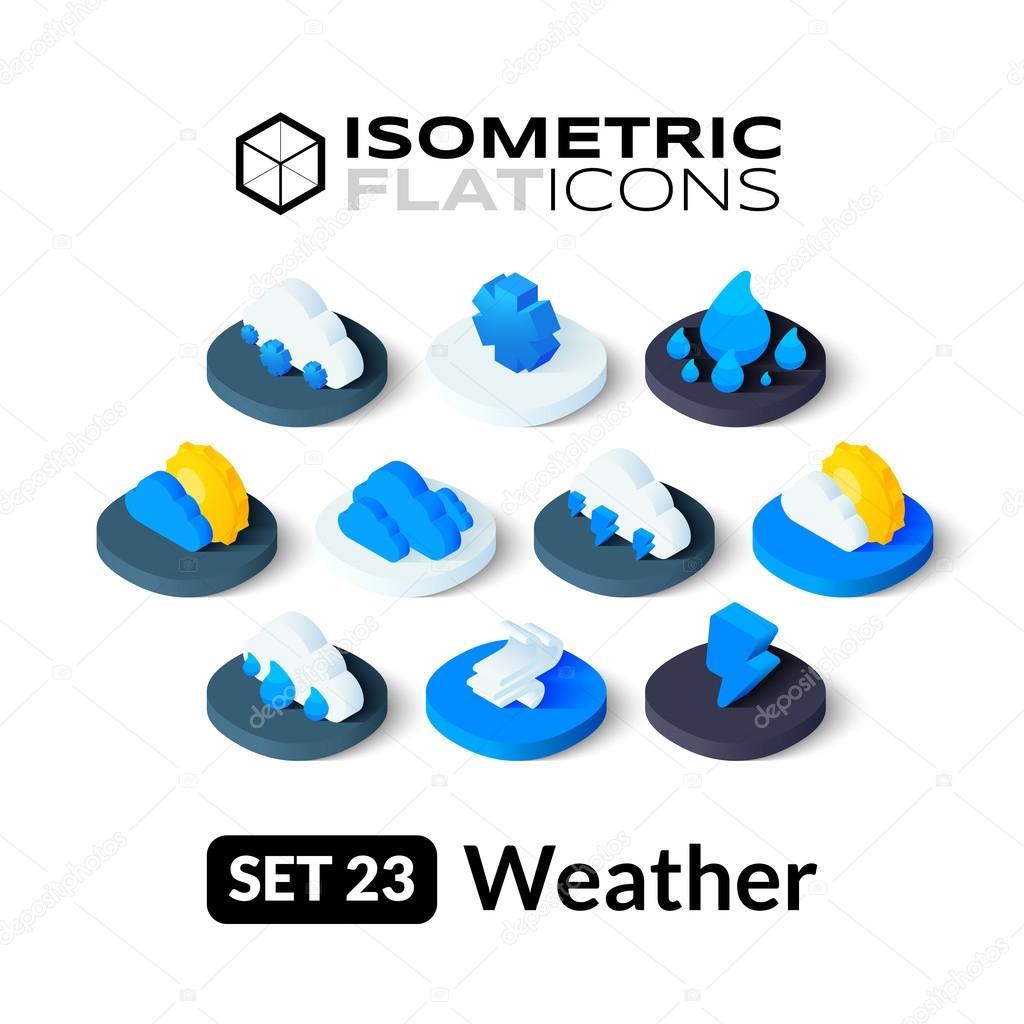 Isometric flat icons set