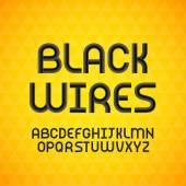 Černá kontura abeceda