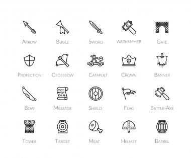 Outline icons thin flat design