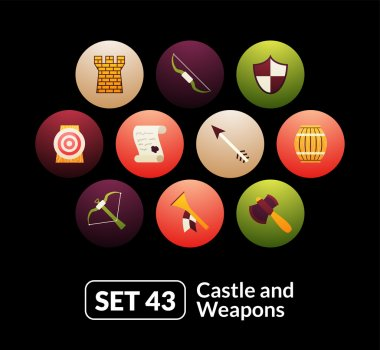 castle and wepon icons  set