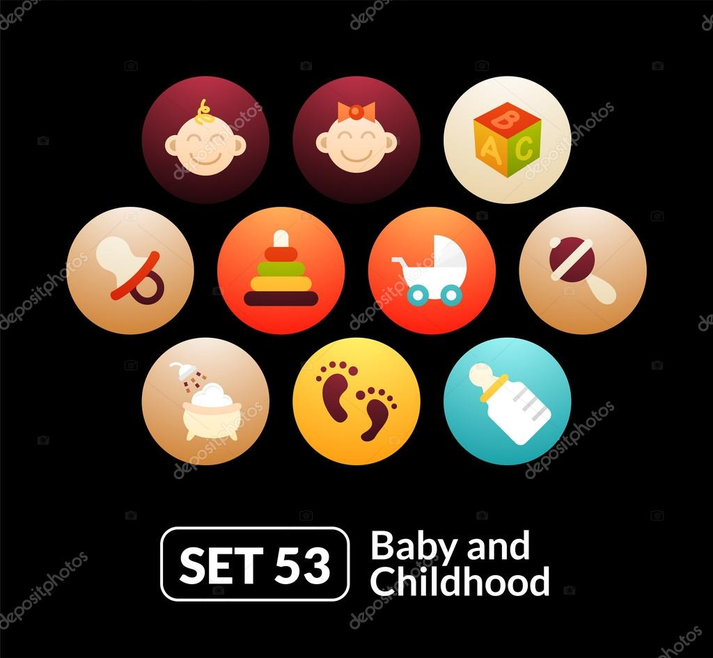 baby and childhood icons  set
