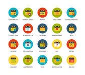 Kulaté ikony tenký plochý design