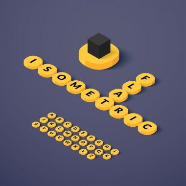 Isometric blocks with letters