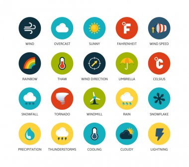 Round icons thin flat design