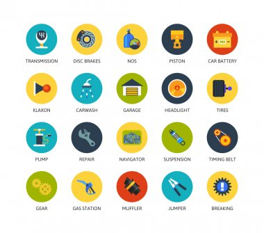 Round icons thin flat design
