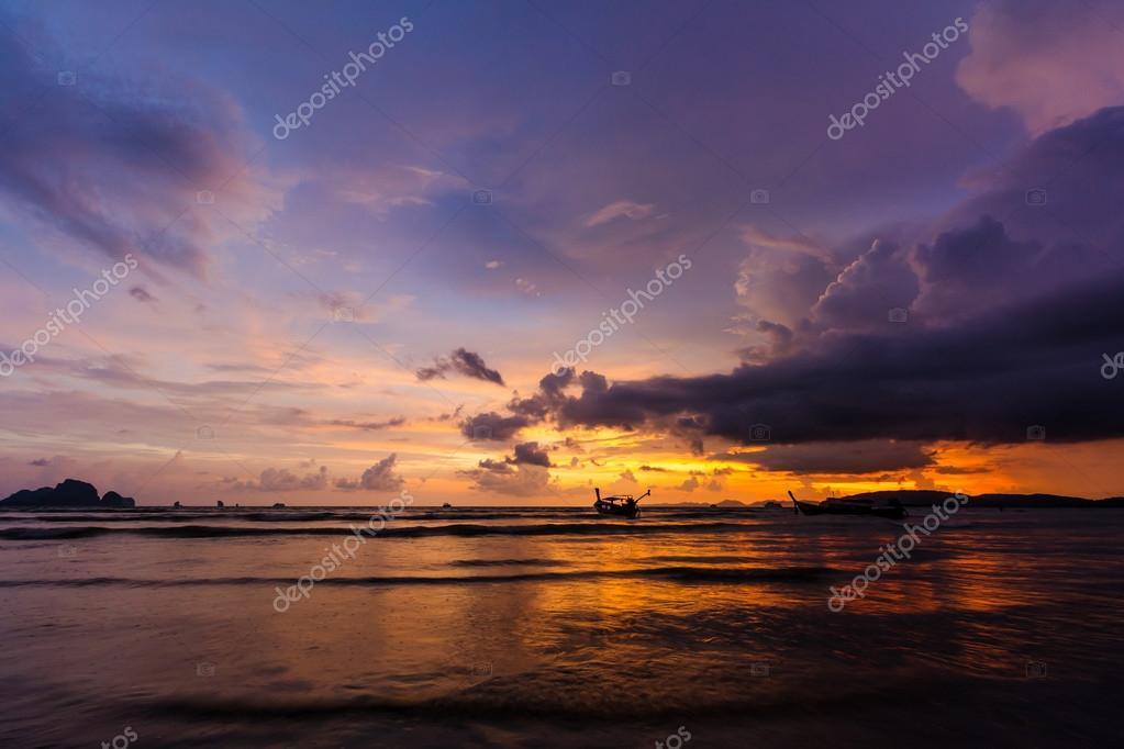 sunset over Ao Nang Beach, Krabi, Thailand