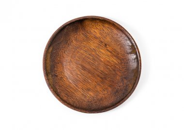 wooden plate over a white background