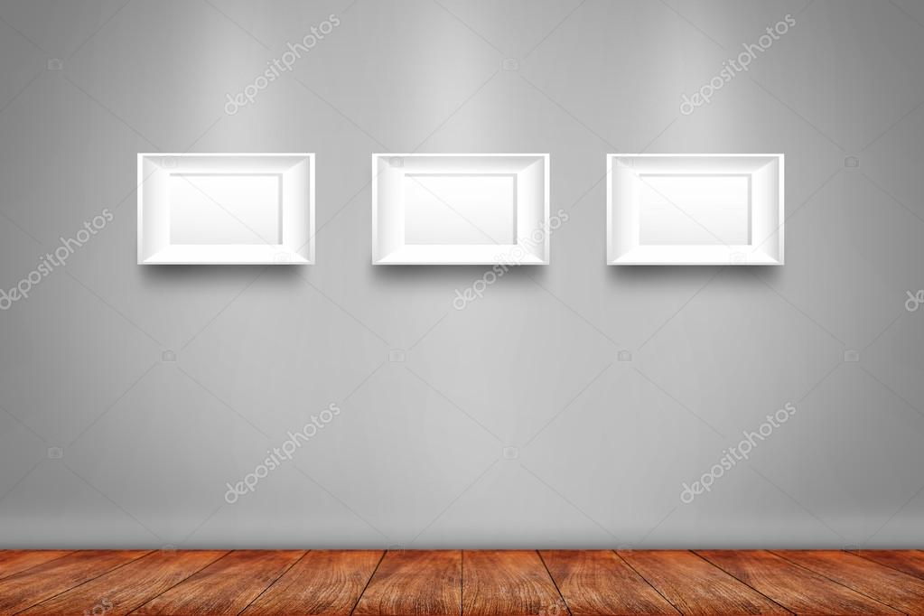 Collage aus drei weißen Bilderrahmen an der Wand — Stockfoto ...