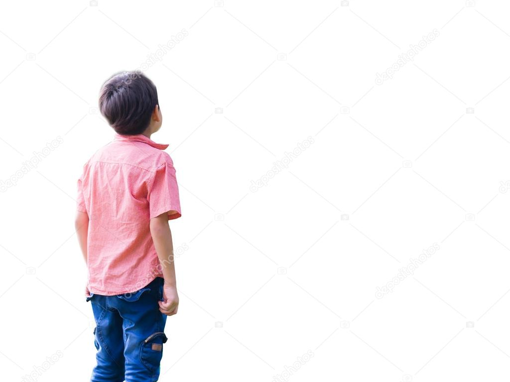 Little boy look up high in the sky — Stock Photo, Image