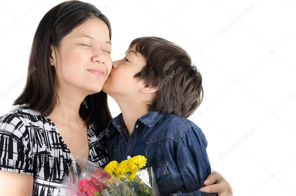 Little boy kissing his mother with flower on white background little boy kissing his mother with flower on white background stock photo thecheapjerseys Gallery