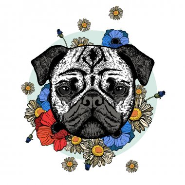Graphically cute pug dog with flowers