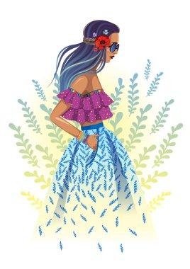 Beautiful fashion hippie girl